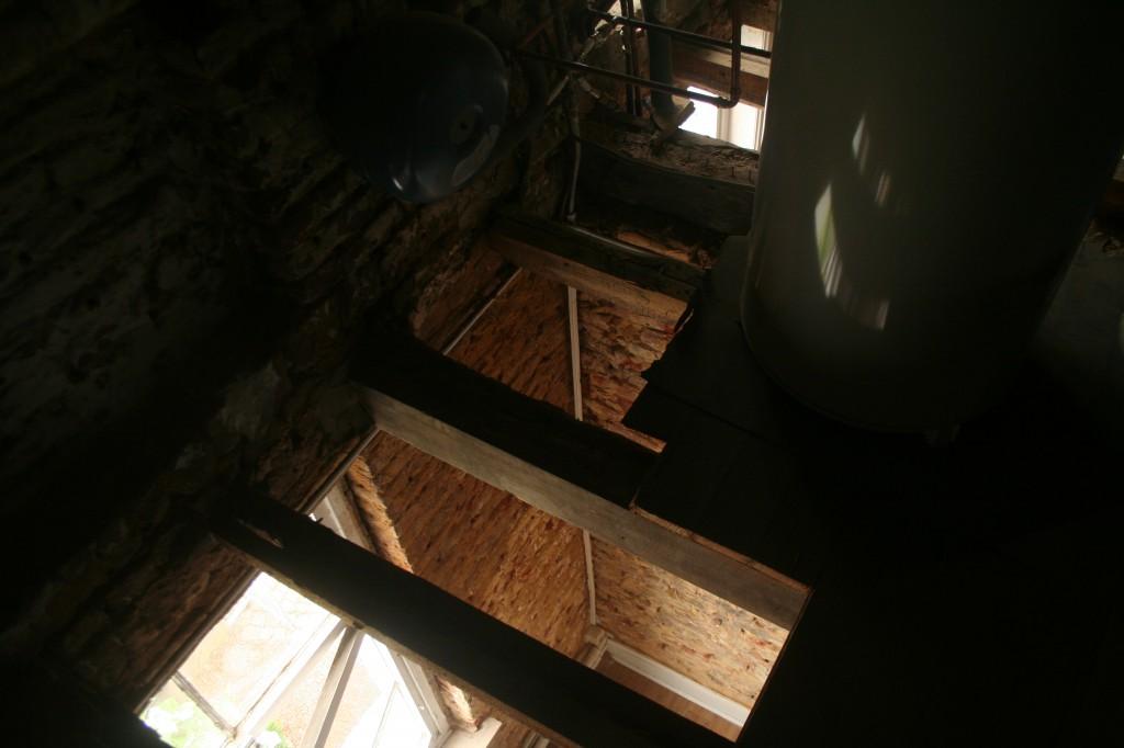 La mérule est un champignon ligivore qui se nourrit du bois, sur ce chantier, le plafond et le plancher ont été retiré, les gîtes étant égalment atteinte, elle seront retirées et remplacées. 003